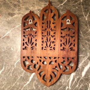 Wall Art - Boho Wooden Hand Carved Shelf